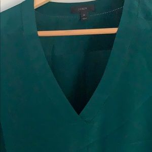 Stunning emerald jcrew silk blouse